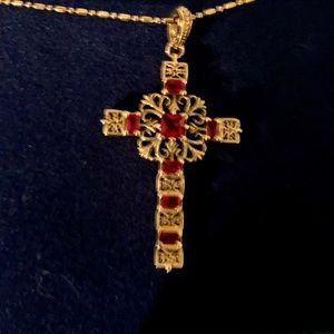 Jackie Kennedy Collection Gold and Ruby Cross
